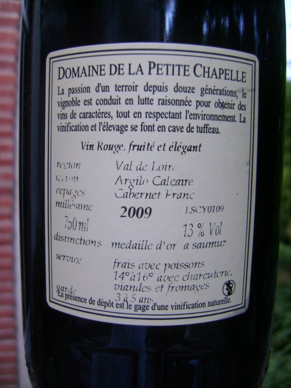 La Petite Chapelle 2009 cuvée tradition