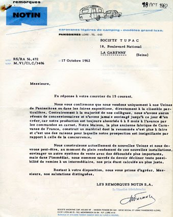Courrier Notin 1962