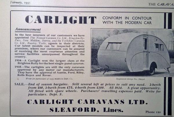 Publicités magazine anglais THE CARAVAN de 1935