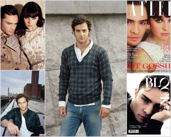 Blake Lively for Chanel + Penn Badgley on Men's Health Magazine & Ed Westwick with his co-star Felicity Jones on Tatler