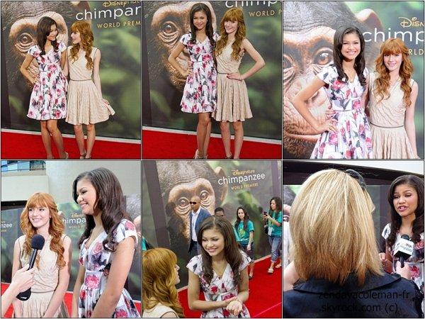 Zendaya & Bella Thorne étaient à la première mondiale de ''Chimpanzee'', à Disney World à Orlando.