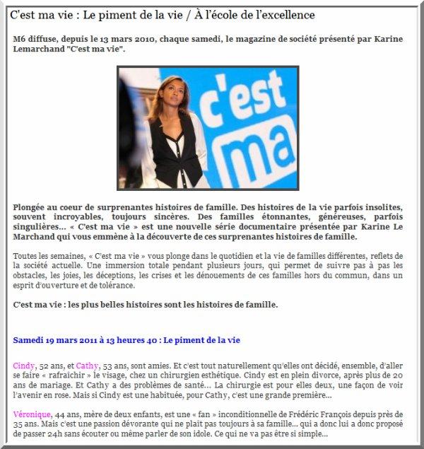 C'est ma vie - M6 - Le piment de la vie - Frédéric François et Véronique - Fredomania