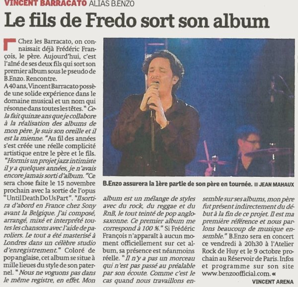 Vincent Barracato : Le fils de Fredo sort son album