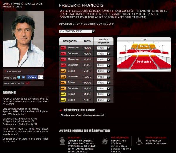Frédéric François - Offre spéciale Olympia 2014