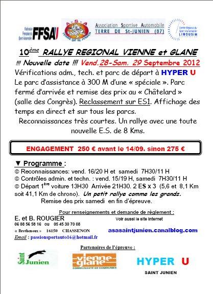 28 & 29 Septembre Rallye Régional Vienne et Glane (87)