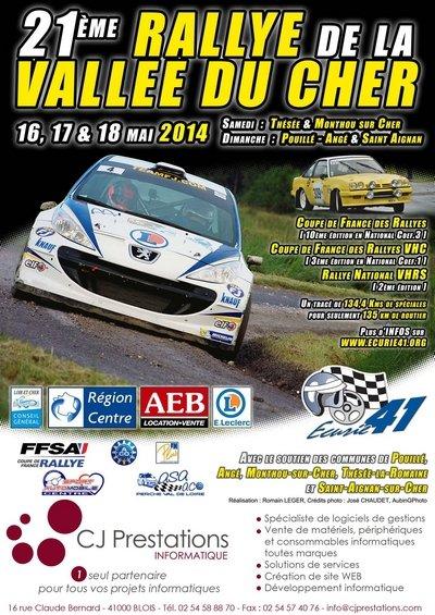 16-17 & 18 Mai 2014    21ème Rallye National de la Vallée du Cher