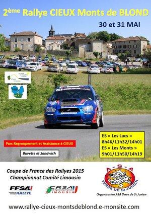 30 & 31 Mai 2015   Rallye Régional Cieux Monts de Blond
