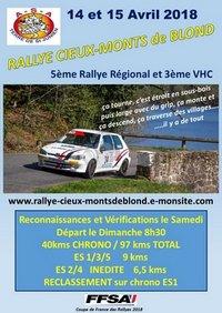 14 & 15 Avril 2018       5ème Rallye Régional CIEUX MONTS DE BLOND