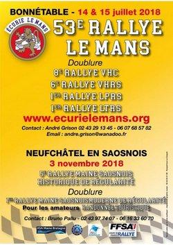 14 & 15 Juillet 2018  53ème Rallye Régional « Le Mans »