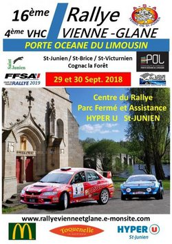 29 & 30 Septembre 2018  16ème Rallye Régional Vienne-Glane Porte Océane du Limousin