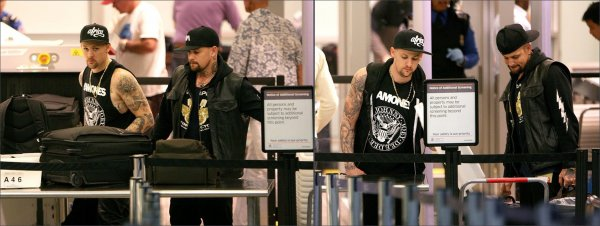 Joel & Benji Madden at the airport