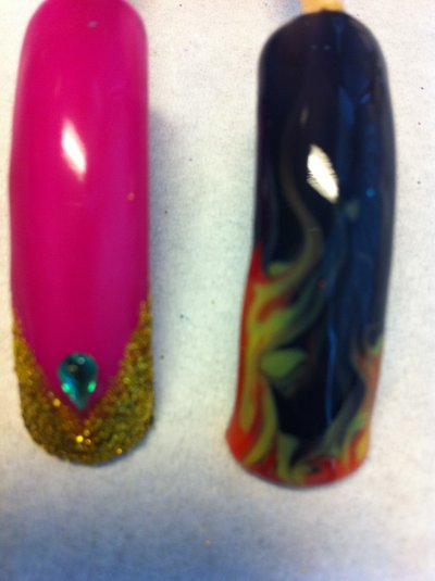 2 NAIL ARTS: FRENCH BOLLYWOOD ET NAIL ART FLAMMES REALISES ENTIEREMENT A LA MAIN