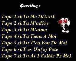tape 1, 2, 3, 4, 5, 6 ou 7 !!!!!