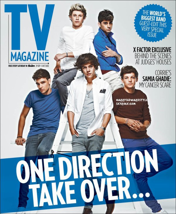 Les 1D sur le cover de The Sun's TV mag