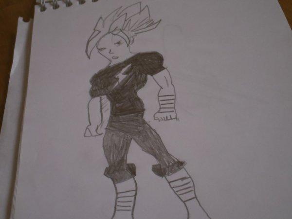 mon dessin d'un combattant debout habillé