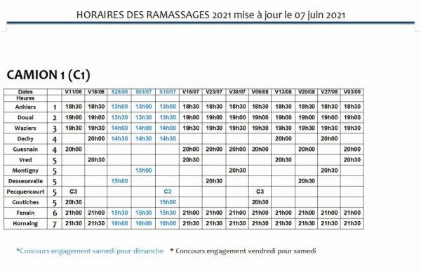 HORAIRES DE RAMASSAGES 2021