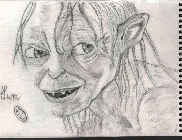 Gollum, par Cécile, crayons 4B,3B et HB