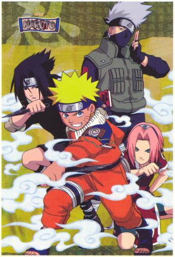 Equipe: Uzumaki Naruto, Haruno Sakura, Uchiha Sasuke et Hatake Kakashi