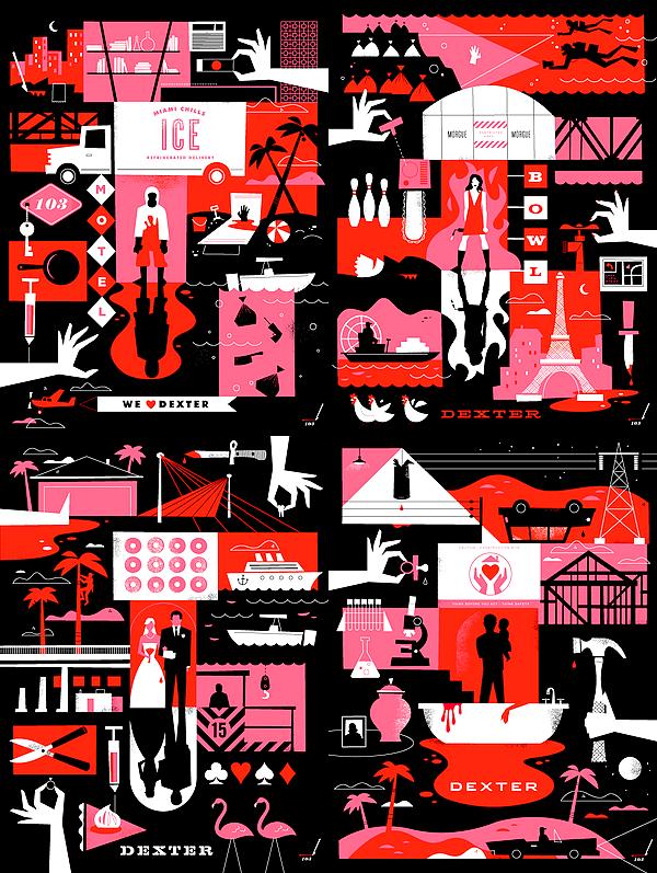 """(Re)découvrez les posters des différentes saisons de Dexter, réalisés par Ty Mattson Ayez un meilleur aperçu de son travail en vous rendant sur son site. Vous pourrez notamment y voir ses créations sur la série """"Breaking Bad""""."""