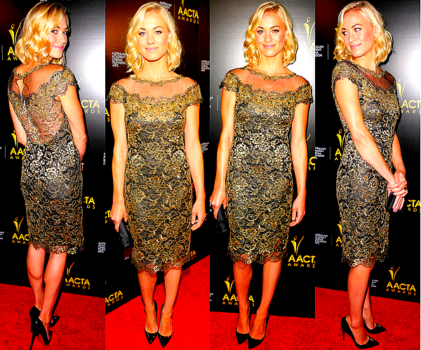 Le 10/01 : Yvonne Strahovski s'est rendue aux «Australian Academy International Awards»La cérémonie a eu lieu à Hollywood. Elle a décidemment beaucoup de goût ! Encore une fois j'adore sa robe ainsi que sa coiffure, elle est superbe. ♥