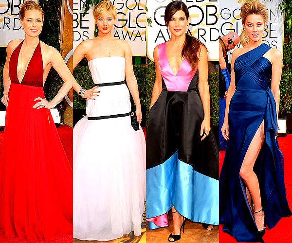 CINEMA   Ce 12 janvier avait lieu la très attendue cérémonie des Golden Globes 2014La cérémonie, qui récompense chaque année les meilleurs films, meilleures ½uvres télévisuelles et meilleurs professionnels du cinéma et de la télévision américains, constitue, avec les Oscars, l'une des principales récompenses de cinéma aux États-Unis. Retrouvez ci-dessous un petit aperçu des tenues que portaient une sélection d'actrices présentes lors de cette 71ème édition, qui s'est déroulée dans la nuit du dimanche 12 au lundi 13 janvier à Los Angeles.