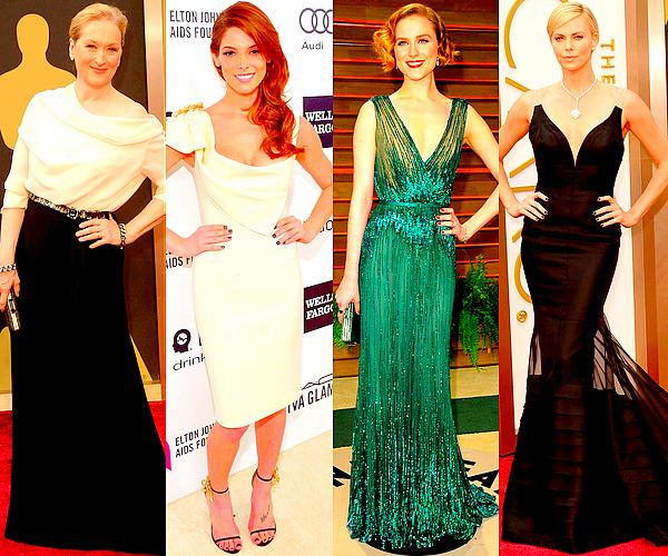 CINEMA   Ce 2 mars avait lieu la cérémonie des Academy Awards (Oscars) 2014 à HollywoodC'est dans la nuit du dimanche 2 au lundi 3 mars, c'est à dire cette nuit, que s'est déroulée la plus prestigieuse cérémonie du cinéma : les fameux Oscars ! Un grand nombre d'acteurs y étaient présents. Comme pour les Golden Globes, je vous propose de retrouver ci-dessous un petit récapitulatif des tenues féminines portées ce soir là (les trois premières lignes étant consacrées à mes actrices fétiches) ainsi que le lien du palmarès complet à la fin de l'article.
