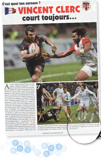 "||| VINCENT CHICKEN 1431 dans ""RUGBY MAGAZINE"""