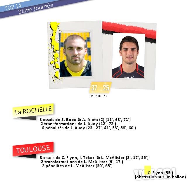 ||| 3ème journée de TOP 14 > La ROCHELLE / TOULOUSE