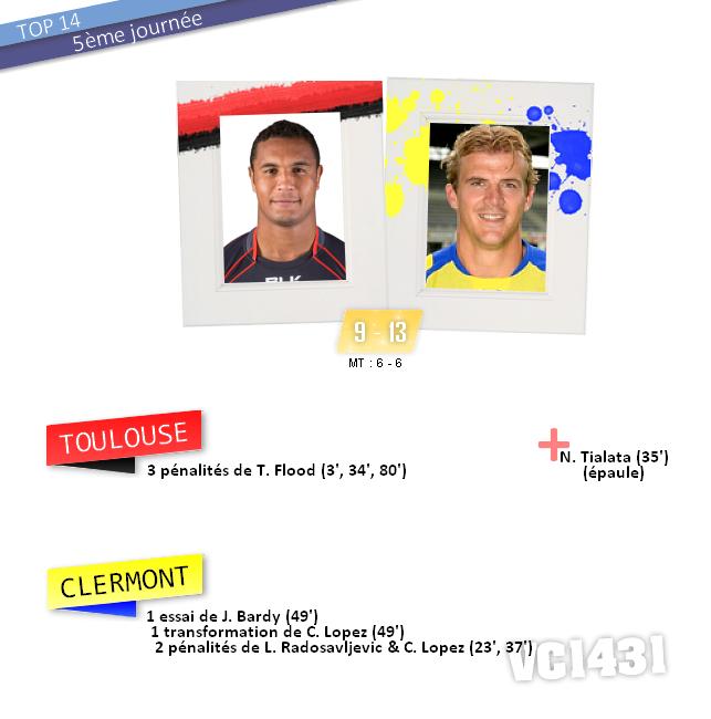 ||| 5ème journée de TOP 14 > TOULOUSE / CLERMONT