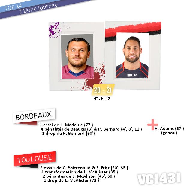 ||| 11ème journée de TOP 14 > BORDEAUX / TOULOUSE
