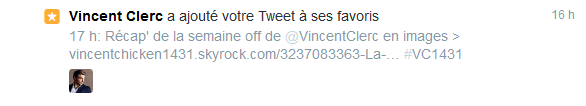 ||| La semaine de repos de Vincent.