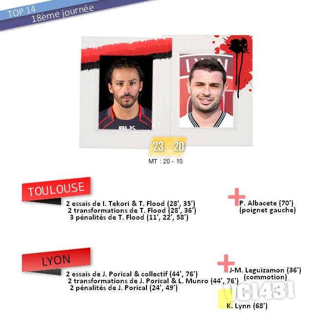 ||| 18ème journée de TOP 14 > TOULOUSE / LYON