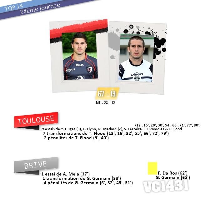 ||| 24ème journée de TOP 14 > TOULOUSE / BRIVE