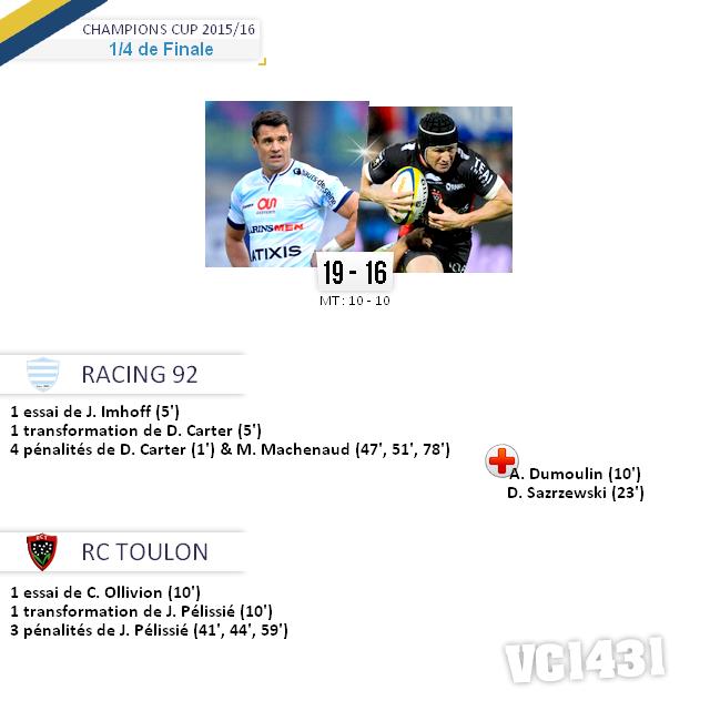 ||| 1/4 de Finale de Champions Cup > Racing 92 / Toulon