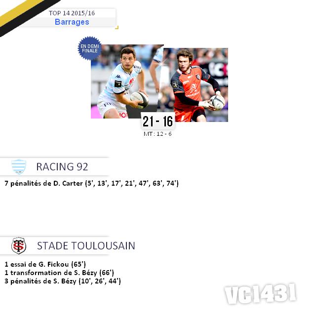||| Barrage de TOP 14 2015/16 > Racing 92 / Toulouse