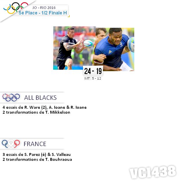     RIO 2016  > 1/2 Finale pour la 5° Place ALL BLACKS / FRANCE