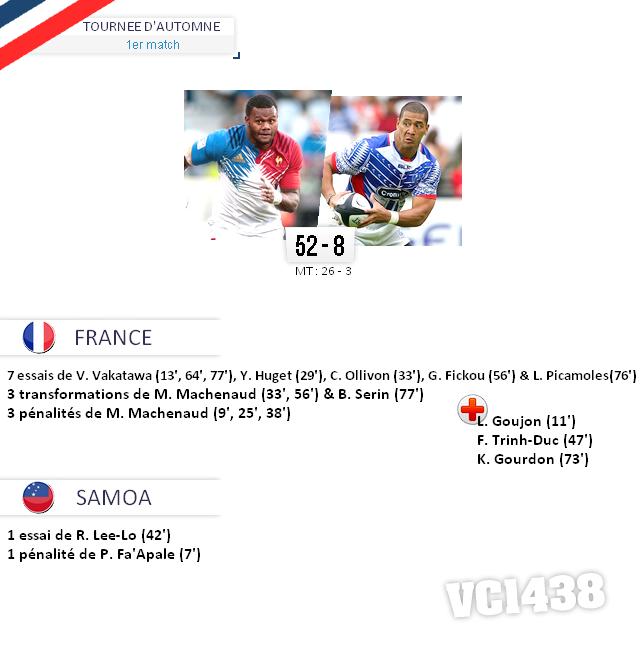 ||| TOURNÉE D'AUTOMNE > France / Samoa