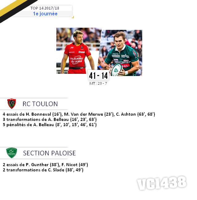 ||| 1è journée de TOP 14 2017/18 > Toulon / Pau