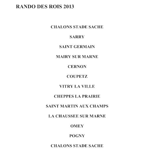 Dimanche 13 Janvier -  RANDO des ROIS organisée par ASPTT CHALONS