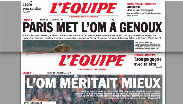 """Spécial """"Quand """"L'Equipe"""" se dédouble pour ménager ses lecteurs"""" - Image n° 2/2 !..."""