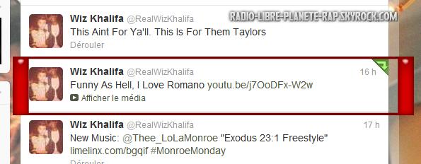 Romano tweeté par Wiz Khalifa !