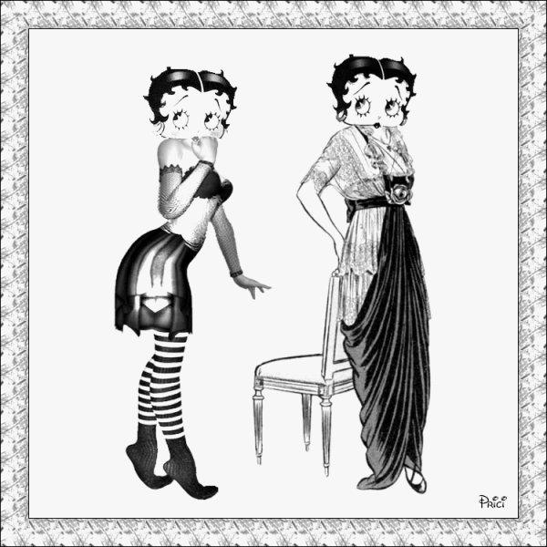 betty boop en noir et blanc