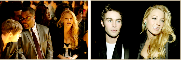 08•11•2011  ~ Blake était à l'évènement Versace For H&M Fashion Event. Elle était accompagnée de sa Co-Star Chace Crowford.  ~    Top / Flop tenue(s) : TOP !  Blake porte évidemment une robe Versace que j'aime beaucoup et des chaussures Louboutin.