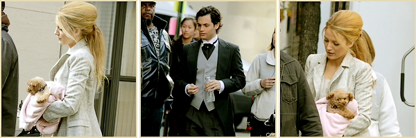 10•11•2011  ~ Blake était sur le set de GossipGirl accompagnée de sa Co-Star  Penn Badgley.  ~    Top / Flop tenue(s) : TOP !