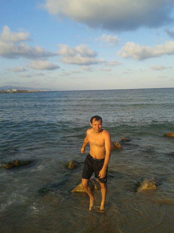 moi , Ali Graa, à Platja de la Barceloneta