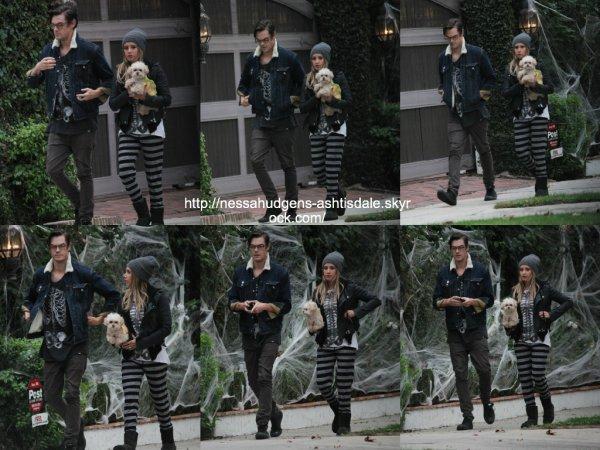 31 octobre 2014 : Ashley a été vue avec Chris alors qu'ils marchaient dans le quartier de Toluca Lake avec leur chien
