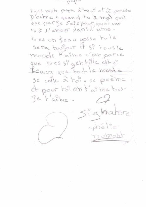 lettre touchante de ma fille et connait bien son pere  au moins elle