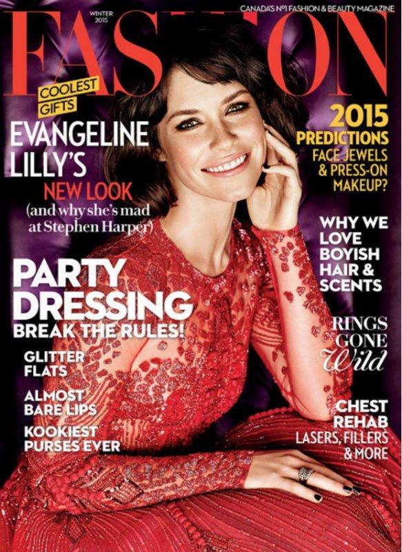 Evangeline en couverture du magasine Fashion de Décembre