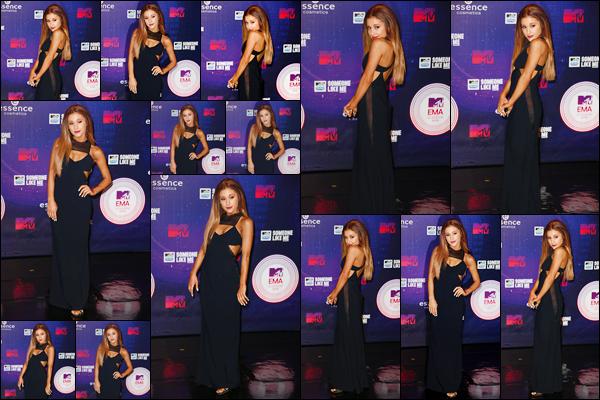 - '-09/11/14-' ◊Ariana Grande assistait à la cérémonie des « MTV Europe Music Awards » ayant lieu à Glasgow. C'est ainsi sur le sol écossait que nous retrouvons notre artiste sur le tapis rouge de cette cérémonie. Elle était magnifique, un gros top ! -