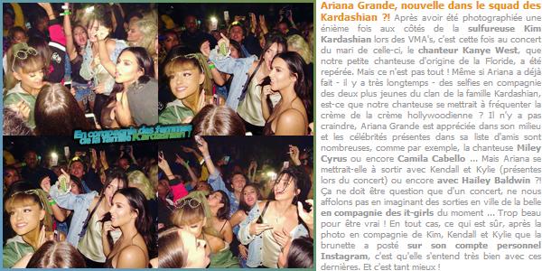"""- """"─-06/09/16-•"""": Ariana Grande était présente lors d'un concert du chanteur « Kanye West » dans New York. C'est en compagnie de Kim Kardashian, Hailey Baldwin, Kylie & Kendall Jenner que la chanteuse a été aperçue dans la foule de gens ! -"""